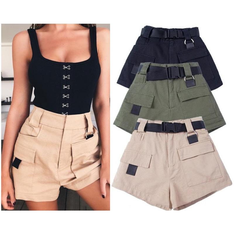 1e82a46ca7 2019 Cargo Shorts With Black Waist Ladies Summer Short Women High Waisted  Straight Shorts Casual Cotton Solid Zipper From Veilolive, $30.75 |  DHgate.Com