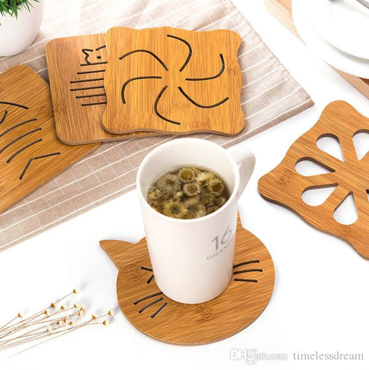 9 Designs Wood Cup Mat Non-Slip Mug Cup Pad Pot Bowl Anti-Scald Mats Kitchen Accessories Tools Table Decoration Free Ship
