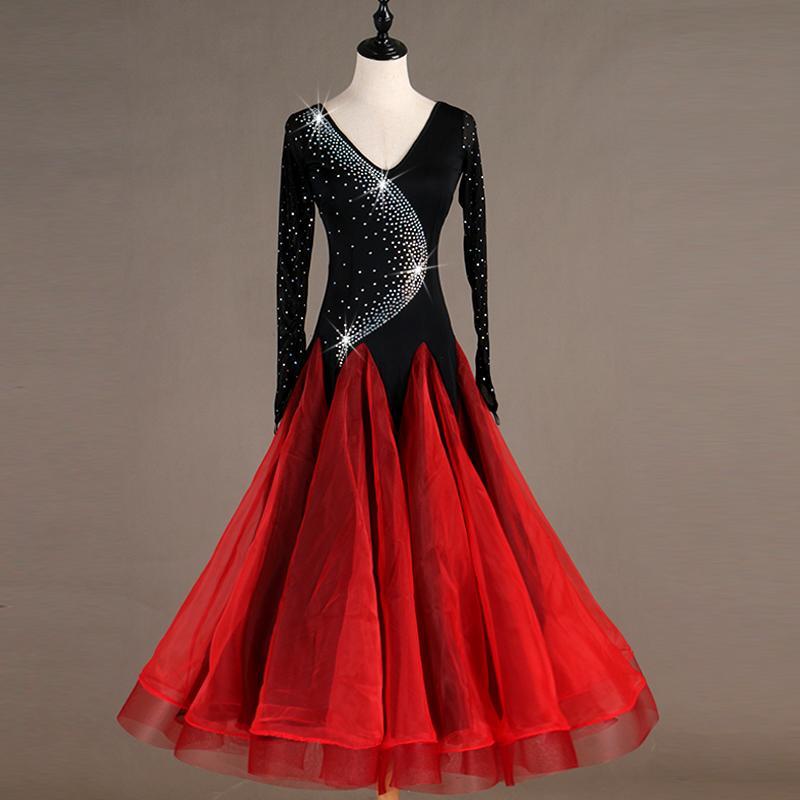 2019 Red Long Ballroom Dress Standard Ballroom Tango Dresses Plus ...