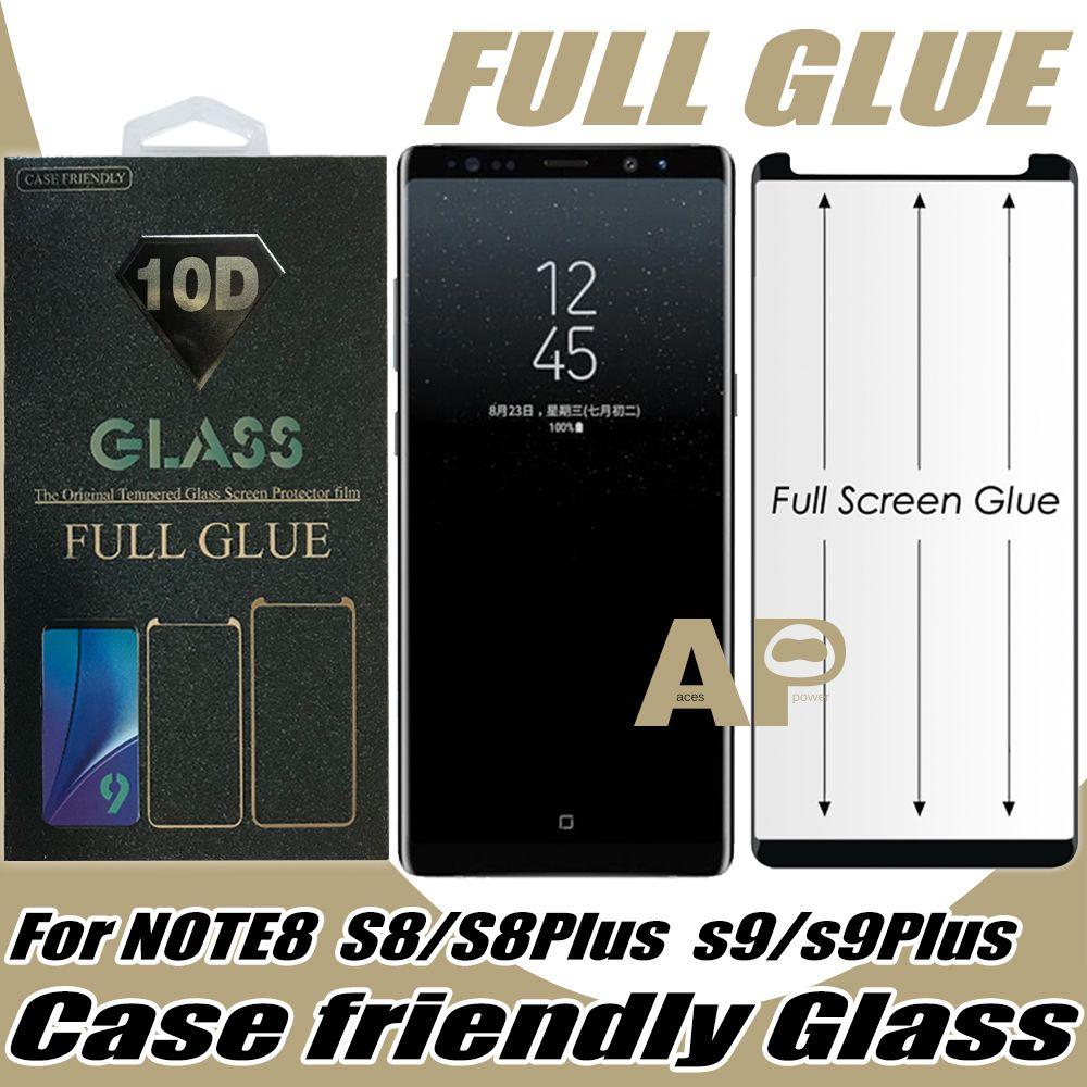 Caixa de cola completa Protetor de tela de vidro temperado para Samsung Galaxy S21 S10 S9 S8 S20 Ultra Nota 9 10 Plus com pacote de varejo