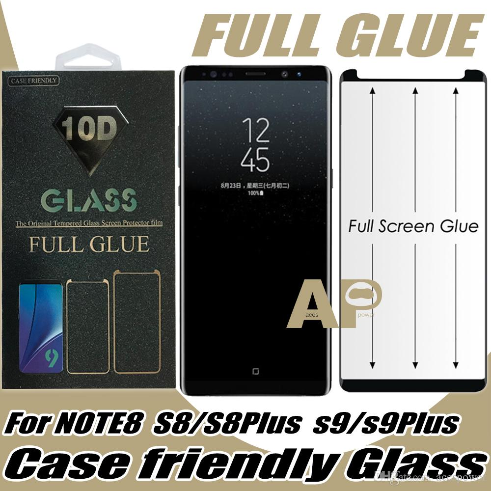 Full Glue Case Friendly Tempered Glass Screen Protector For Samsung Galaxy S21 S10 S9 S8 S20 Ultra Note 9 10 Plus With Retail Package