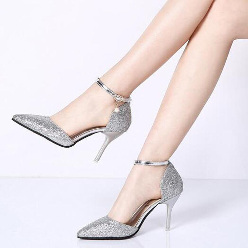 3a8d976d5d72 2019 Fashion Buckle Crystal Bling Pumps Women Elegant Thin High Heels Point  Toe Party Wedding Shoes Woman Sexy Pumps Stiletto C314 From Kendymade