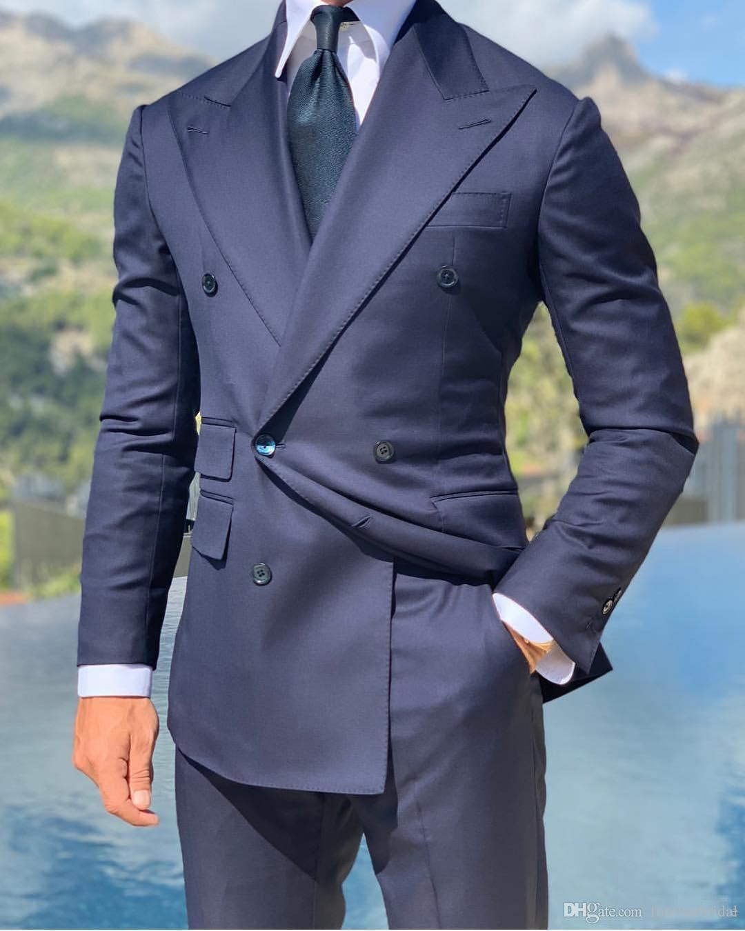 Double Breast Navy Blue Formal Men's Suits 2019 High Quality Custom Made Two Pieces (Blazer+Pant) Suits For Sale