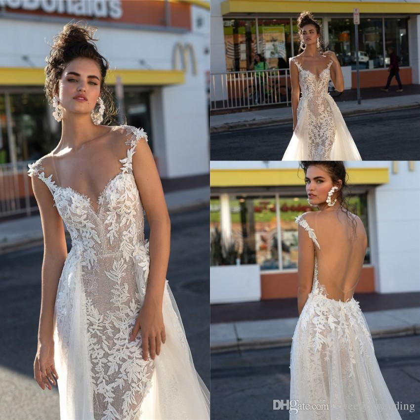 Romantic Illusion Bodice Lace Mermaid Wedding Dresses 2019 Berta Sexy Open Back Cap Sleeve Appliqued Bridal Gowns With Removable Train
