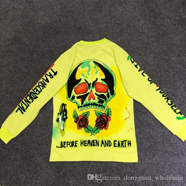 5716fdb88 2019 Kanye West Merch Line Crâne Imprimé Femmes Hommes Manches Longues Vert  Fluorescent T-shirts T-shirts Hiphop Hommes T-shirt En Coton D été