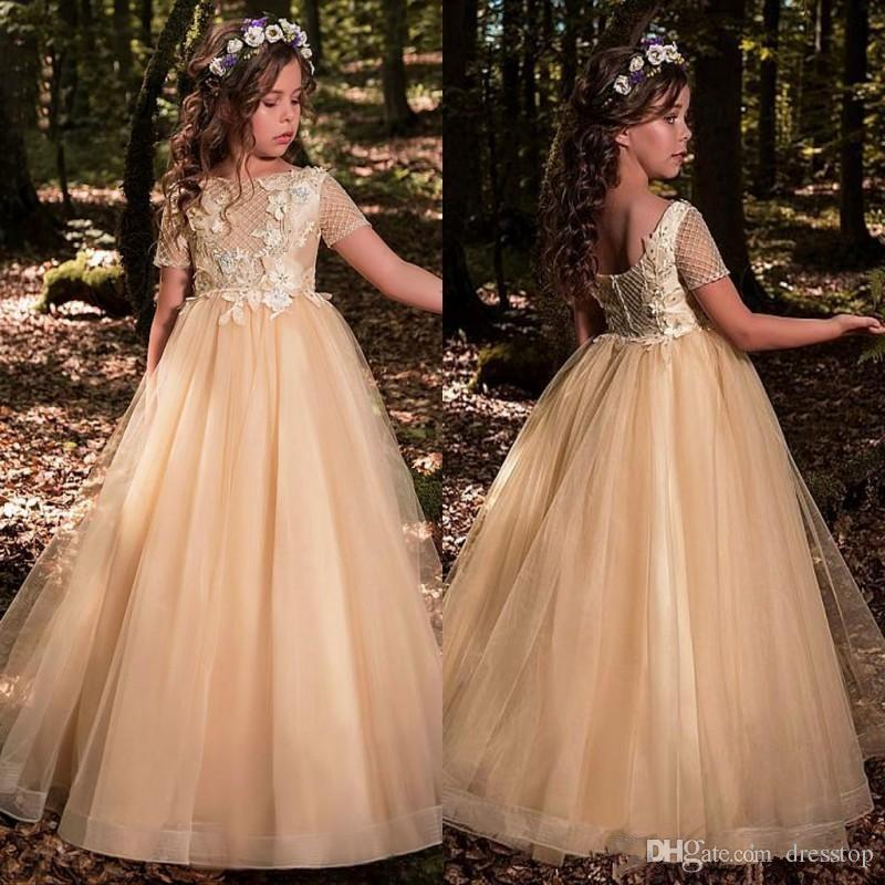 79c1b981657 2019 Champagne Flower Girls Dresses For Wedding Jewel Neck Tulle Appliques  Beads Short Sleeves Girl Pageant Gowns Girl Occasion Dresses Girl Pageant  Dress ...