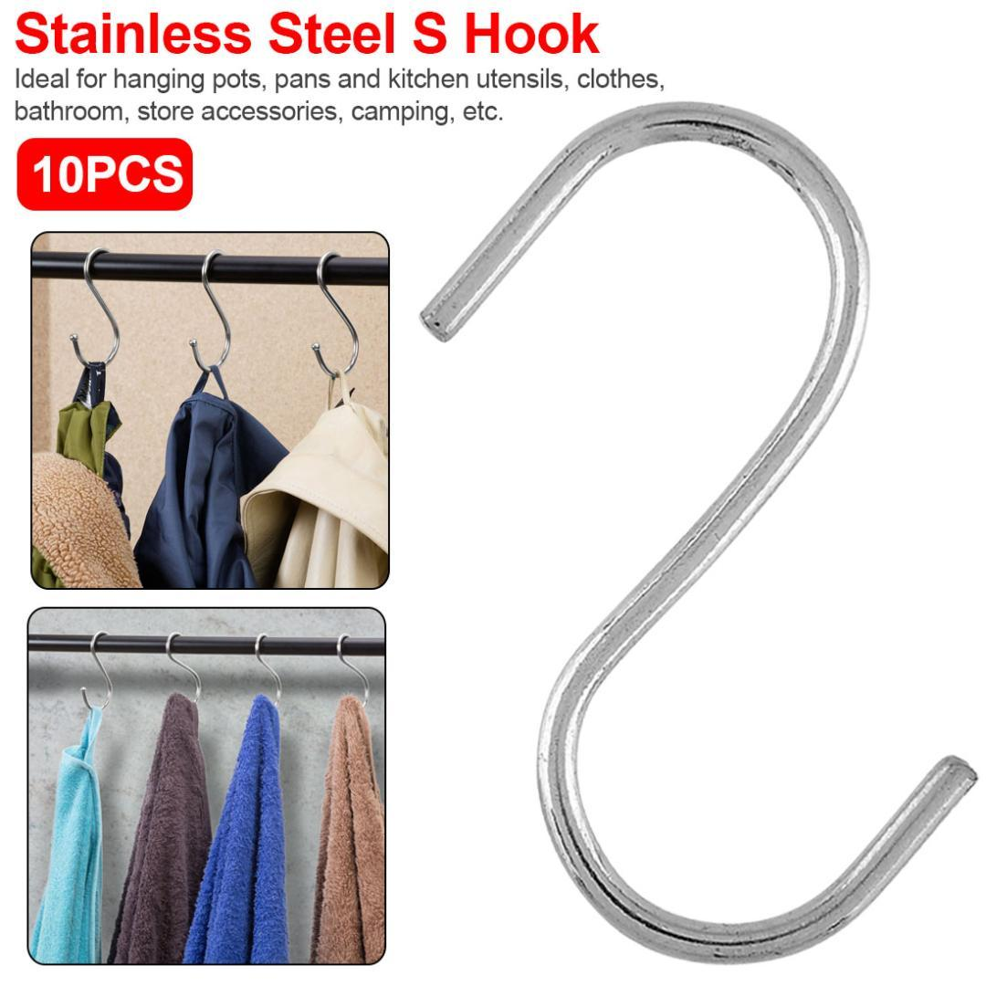 10Pcs Stainless Steel S Shaped Hanger Hook Bathroom Railing Clasp Holder Hooks