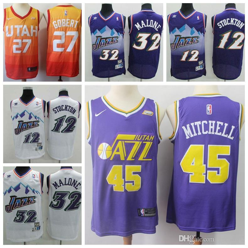 purchase cheap a66d5 fbe53 Top Sale Retro 2019 Utah Basketball Jazz Jersey 12# John Stockton 32#  Malone Karl 45# Donovan Mitchell 27# Rudy Gobert Stitching Jerseys