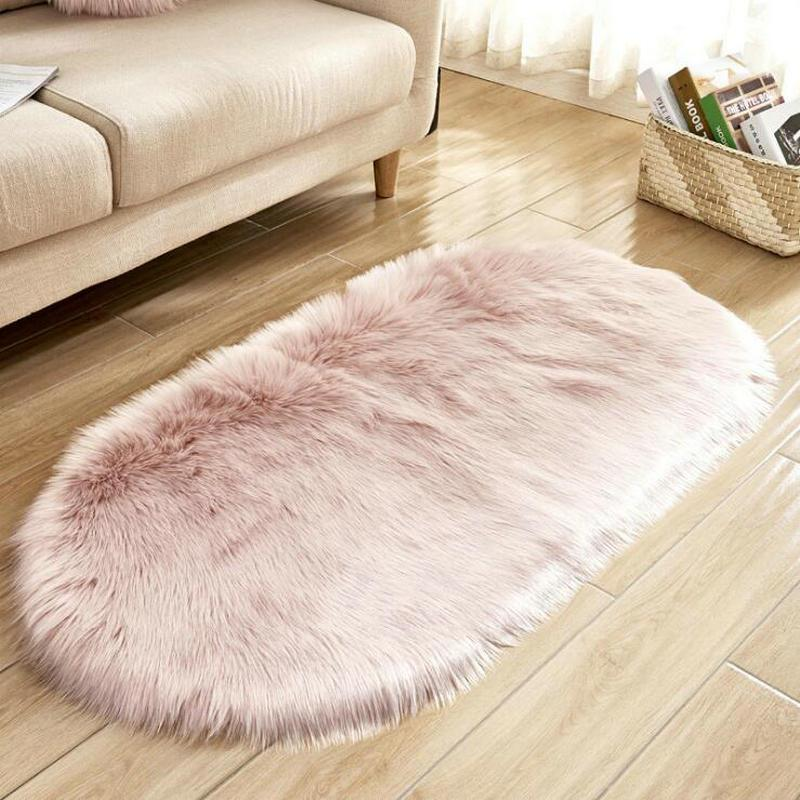 Oval Nursery Carpet Soft Shaggy PINK Rugs For Girls Bedroom Bedside ...