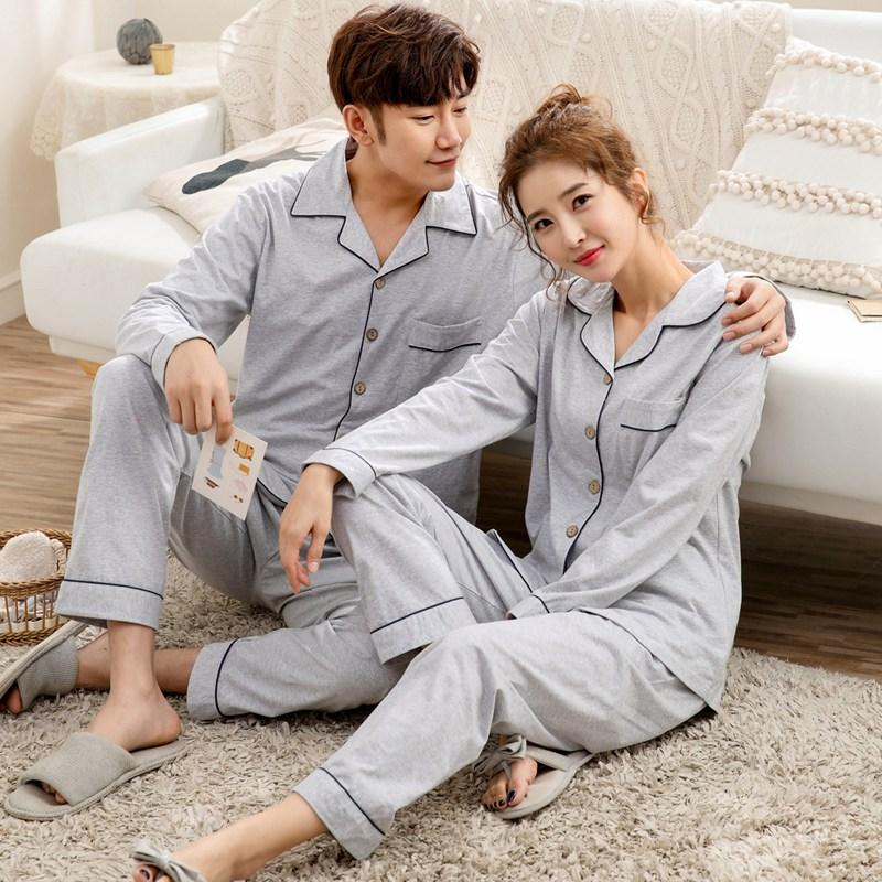 2f5c411eb Compre Parejas 100% Algodón Conjuntos De Pijamas Para Mujeres 2019  Primavera Manga Larga Pijama Ropa De Dormir Hombres Loungewear Homewear  Pijama Mujer Ropa ...
