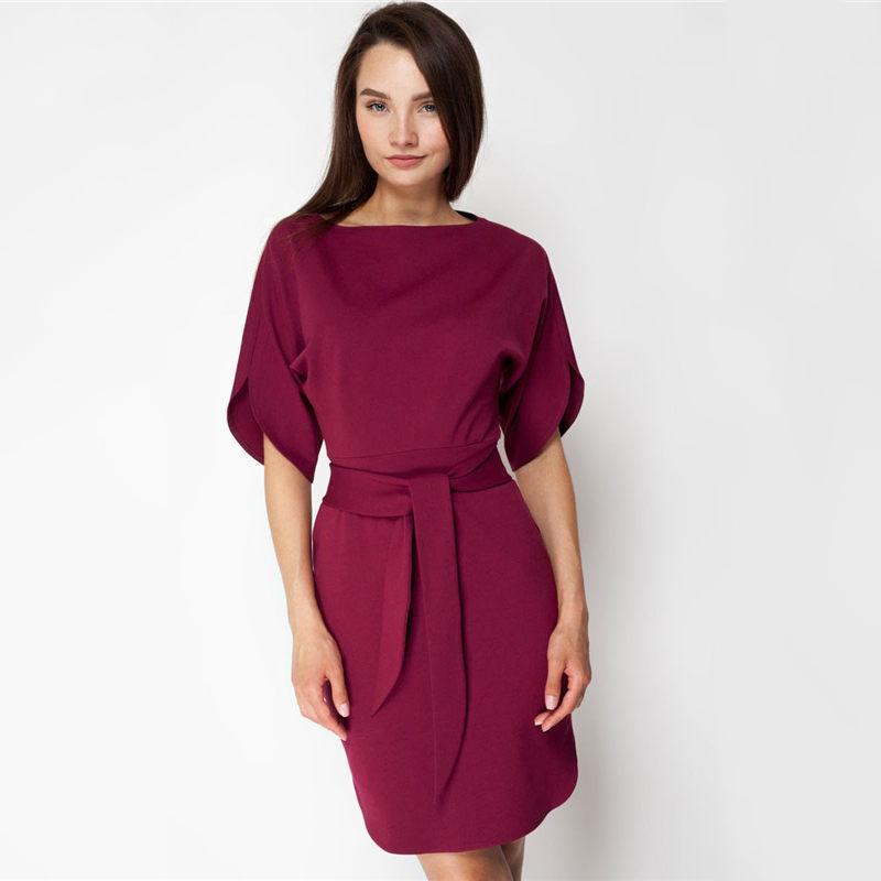 c5fbf782d7 Acheter Femmes Mode Bureau Dame Lâche Robe Droite Classique À Manches  Courtes O Cou Ceinture Robes 2019 Printemps Élégant Femmes Robe De Fête De  $40.84 Du ...