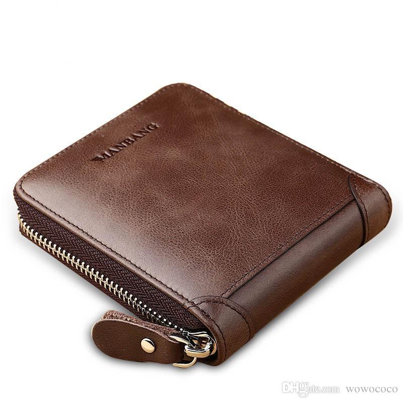 cd3a22561b Acquista MANBANG Zipper Genuino Vacchetta Trifold Portafogli Uomini  Portafogli In Pelle Porta Carte Organizzatore Borsa Breve Portafoglio X462  A $10.97 Dal ...