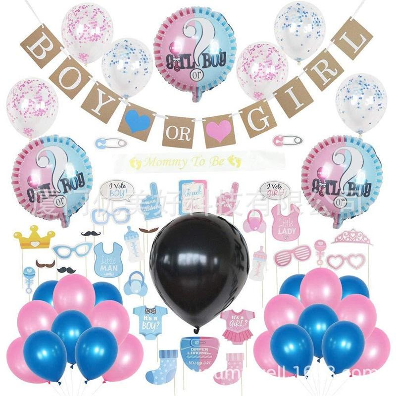 Gender Reveal Party Decoration 36 pollici Balloon Blue Pink Scraps Banner 18 pollici Palloncini foglio di alluminio Photo Booth oggetti di scena 45ymE1