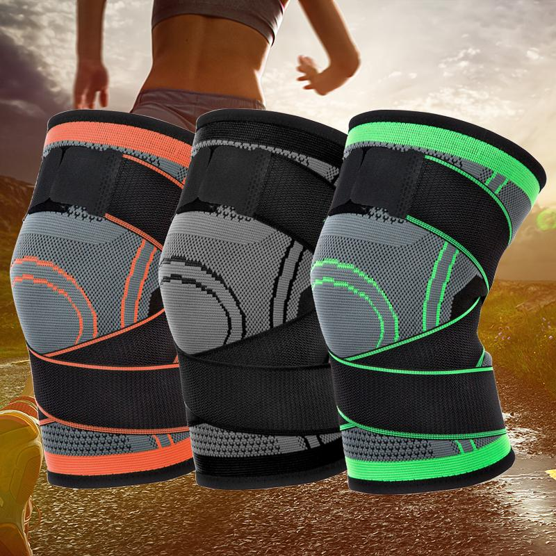 3 Colors Unisex Fitness Cycling Bandage Knee Support Braces Elastic Kneepad Leg Protective Pad Knee Protector Brace Compression Sleeve M421F