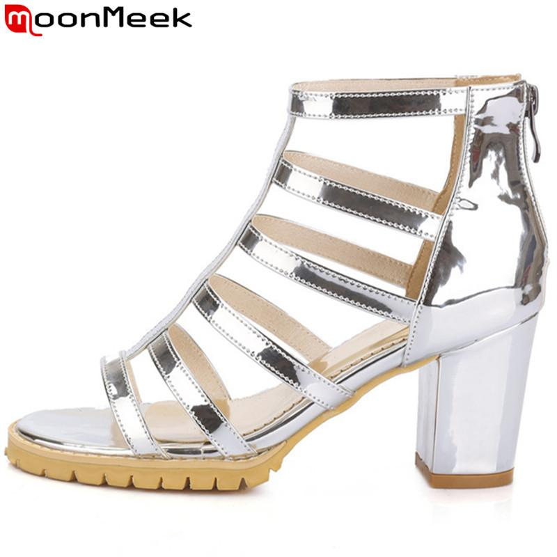 10c08177ca1 MoonMeek 2019 summer new arrive women sandals fashion square high heels  gladiator sandals silver gold ladies party dress