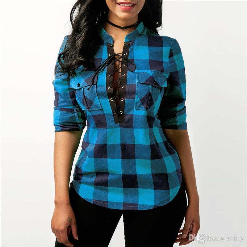 Großhandel Frauen Karierte Hemden 2018 Langarm Blusen Hemd Büro Dame  Baumwolle Lace Up Shirt Tunika Lässige Tops Plus Größe Blusas Von Seiliy,   9.98 Auf De. 6ddf99b1b4