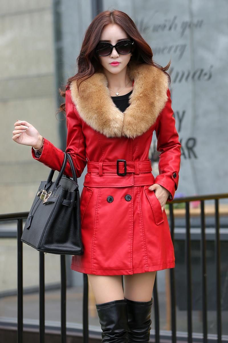 320bfd959297a Leather Coat Women New Style Waist Separated Desigan Women Fur ...
