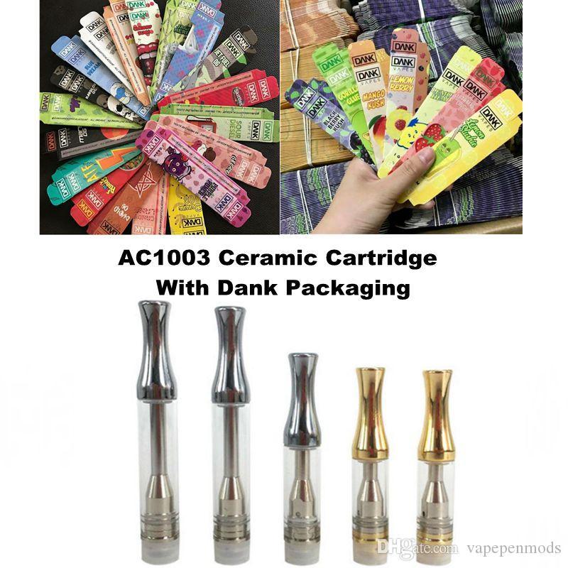 Dank Packaging For 1ml Ceramic Vape Cartridge AC1003 Vape Pen Dab Pen Wax  Vaporizer Ecigarette With Dank Packaging Vape Battery 510 Thread