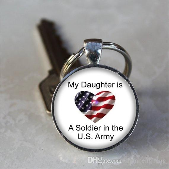 My daughter is the US Army letter photo keychain proud quotes fashion  crystal glass pendant the best gift for her daughter