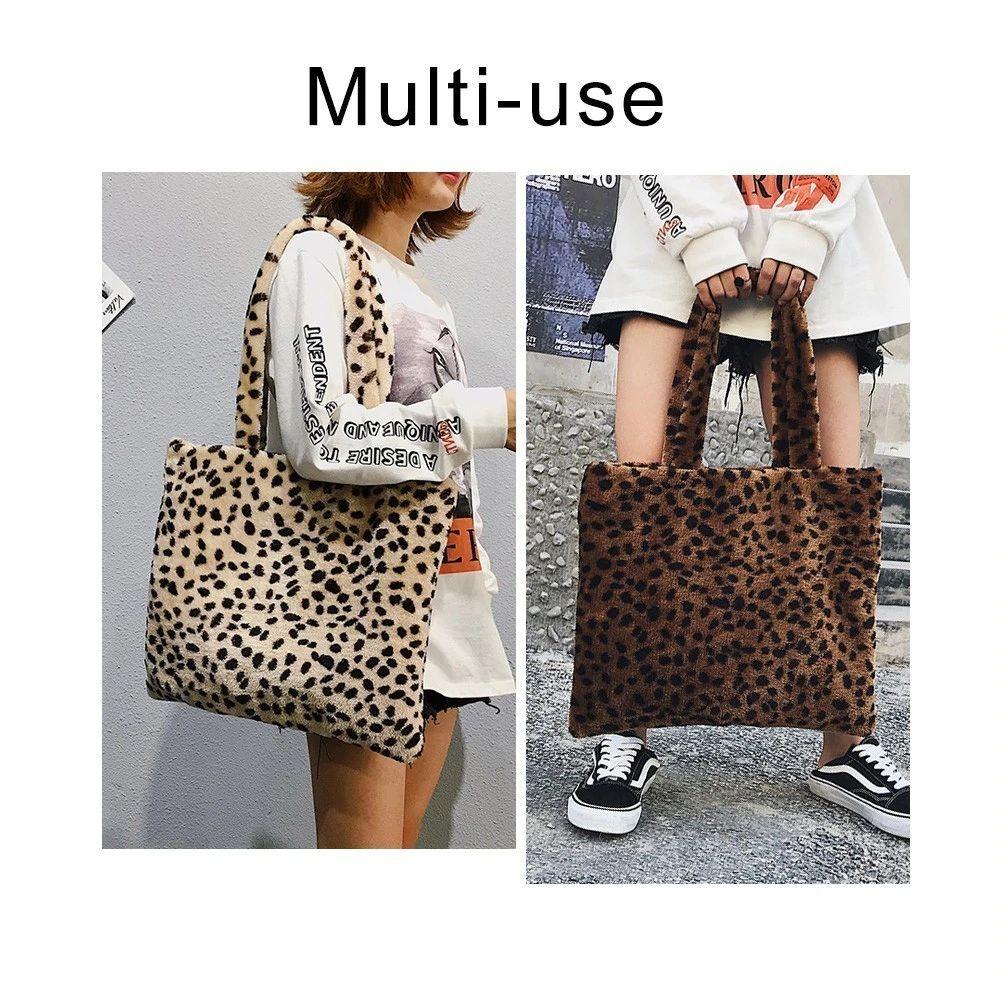 920f7ca81794 TTOU Winter Soft Faux Fur Bag Women Large Tote Bag Warm Plush Handbag  Luxury Ladies Leopard Pattern Shoulder Bag Sac Messenger Bags For Men Hobo  Bags From ...