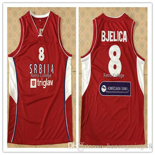 reputable site d1535 36e76 #8 Nemanja Bjelica Srbija GAME high quality Men s Embroidery Stitched  Basketball Jersey Custom any name and number