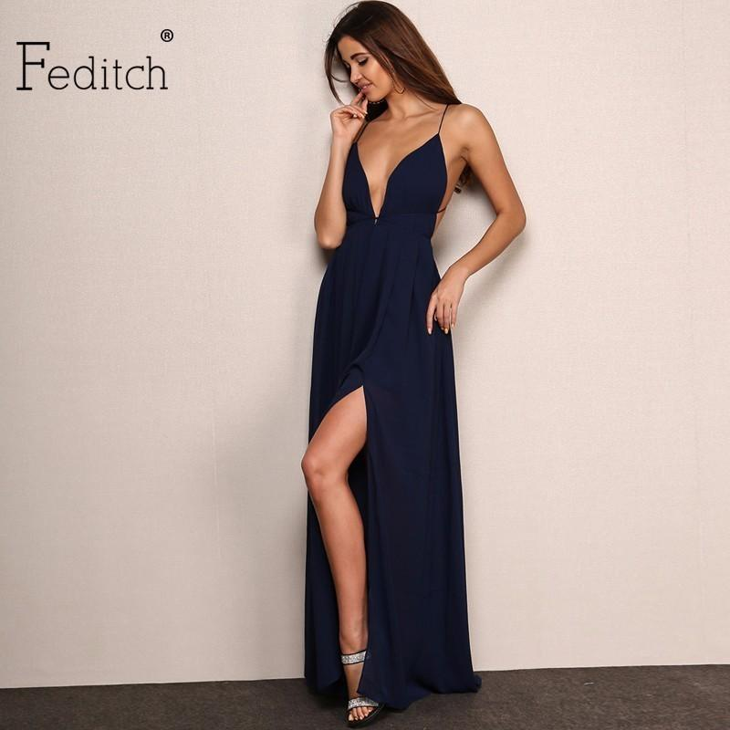 6461cd9eb84d Acquista Feditch New Fashion 4 Colour Deep V Neck Maxi Dress Donna Sexy  Backless Abiti Da Sera Partito Nighrtclub Abbigliamento Abiti Vendita Calda  A  31.78 ...