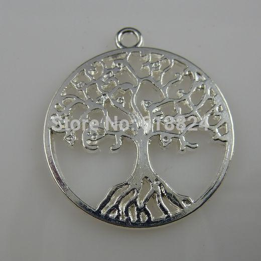 Wholesale-Free shipping ( 25 pieces/lot) Silver Tone Alloy Round Vitality Tree of Life Tree Pendant Charm