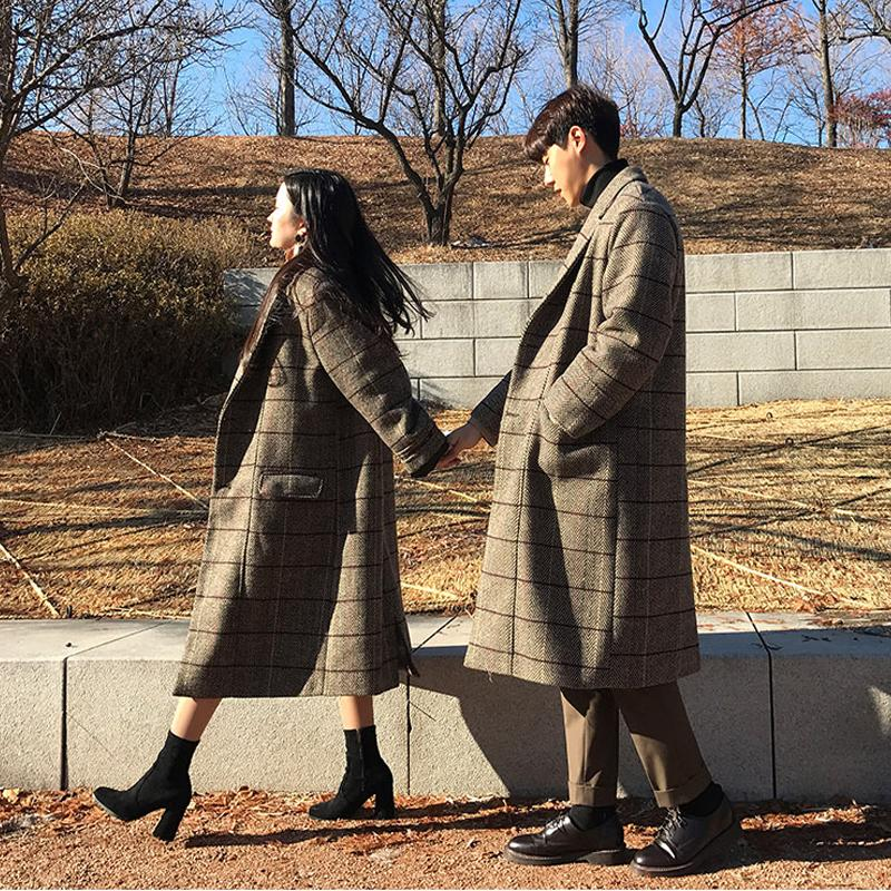 7255036510b9 2019 2018 Young New Winter Wool Coat Men Long Sections Plaid Woolen Coats  Men S Loose Fashion Loose Casual Overcoat From Yanmai