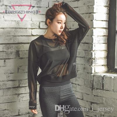c9637fa76d 2019 Loose Black Translucent Mesh Sport Jerseys Long Sleeve T Shirt Women  Yoga Crop Top Workout Running Gym Fitness T Shirt Athletic #120271 From  I_jersey, ...