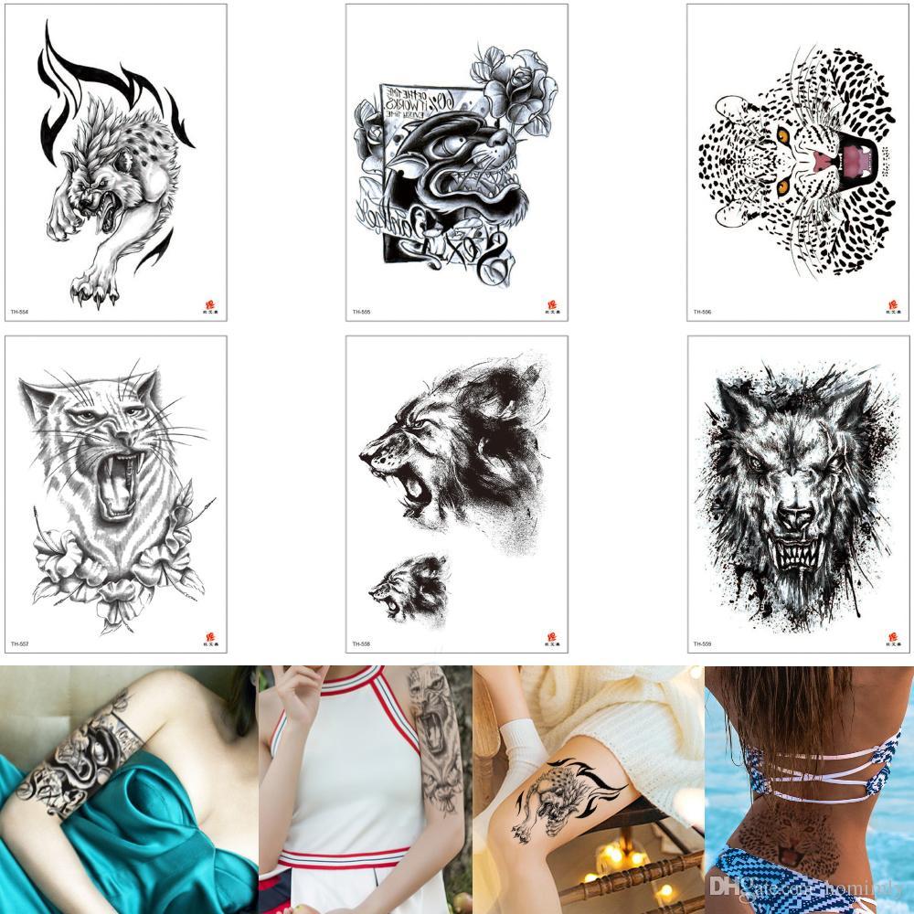 Tatouage Animal Temporaire Noir Léopard Loup Lion Décalque Conception Taille Bras Jambe Poitrine Body Art Autocollant De Tatouage Pour Maquillage
