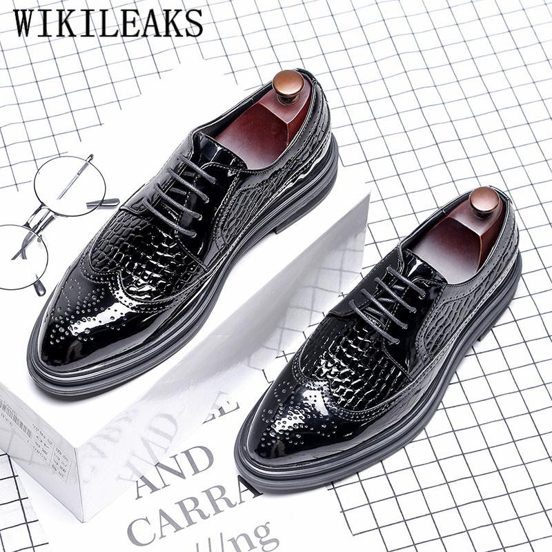 219ce2647214 Mens Business Shoes Patent Leather Oxfords Shoes For Men Dress Casual Black  Classic Gentleman Brogues Zapatos Hombre Comfort Shoes Mens Boat Shoes From  ...
