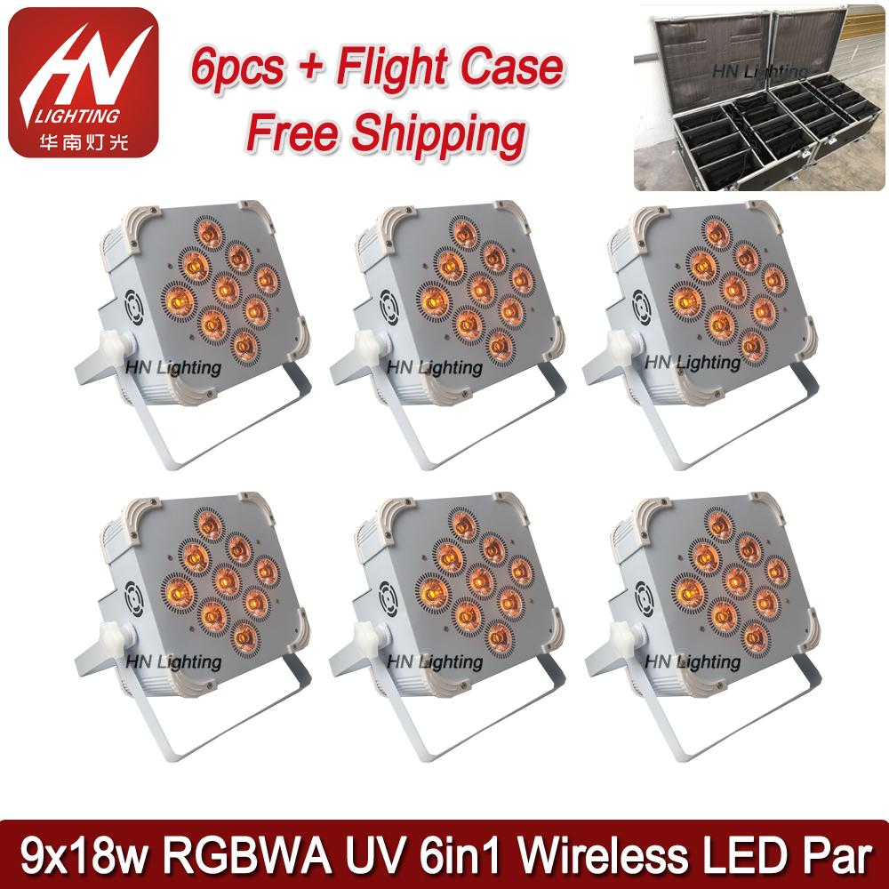 6pcs with case high power Wireless dmx battery powered led par 9X18W 6in1 RGBAW+UV led flat par can wedding djs uplighting