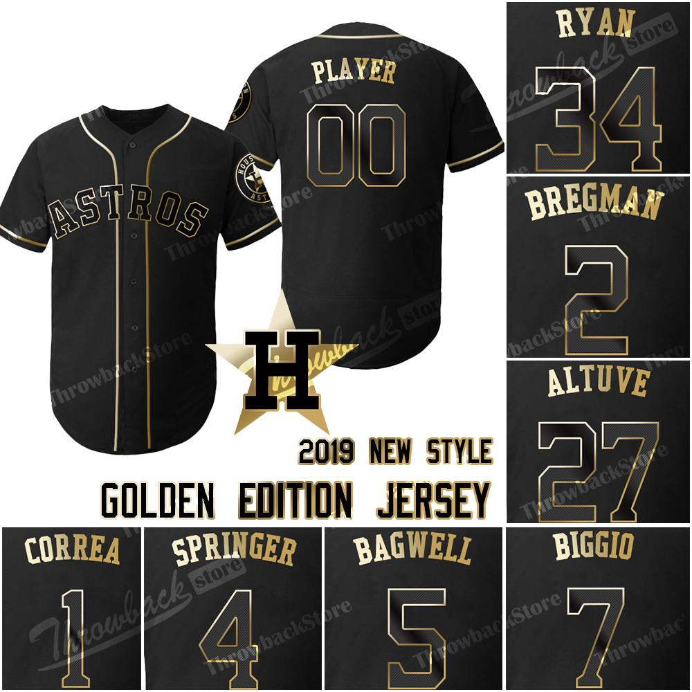 new product d23ee 8cacc Houston Custom Astros Jerseys Golden Edition Eddie Michael Brantley George  Springer Josh Reddick Carlos Correa Chris Devenski José Altuve