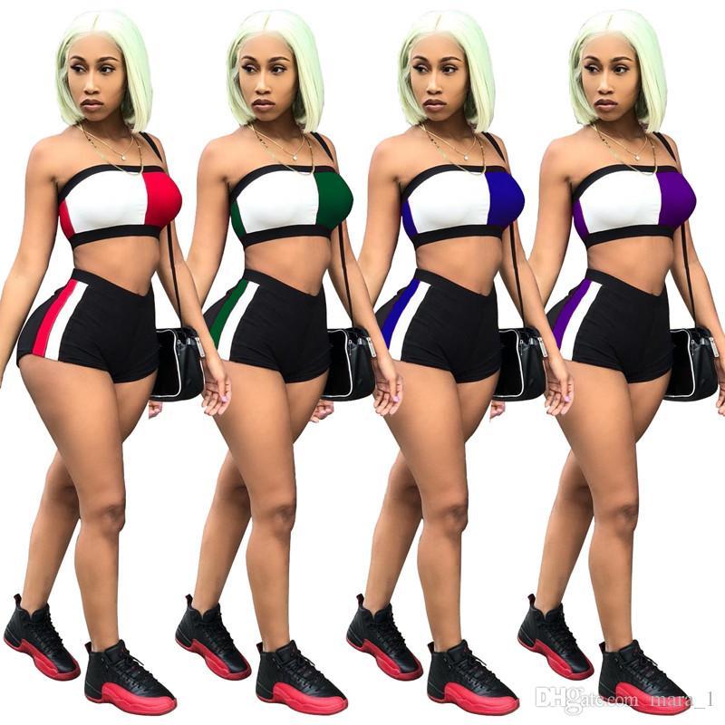Acheter Deux Panneaux Tenues Wrap Pièces Femmes Pantalon Tops Shorts Club Soutien Crop Poitrine Short Gorge Shorts Sportswear Nigth Survêtement Ensemble 8mNOv0wn