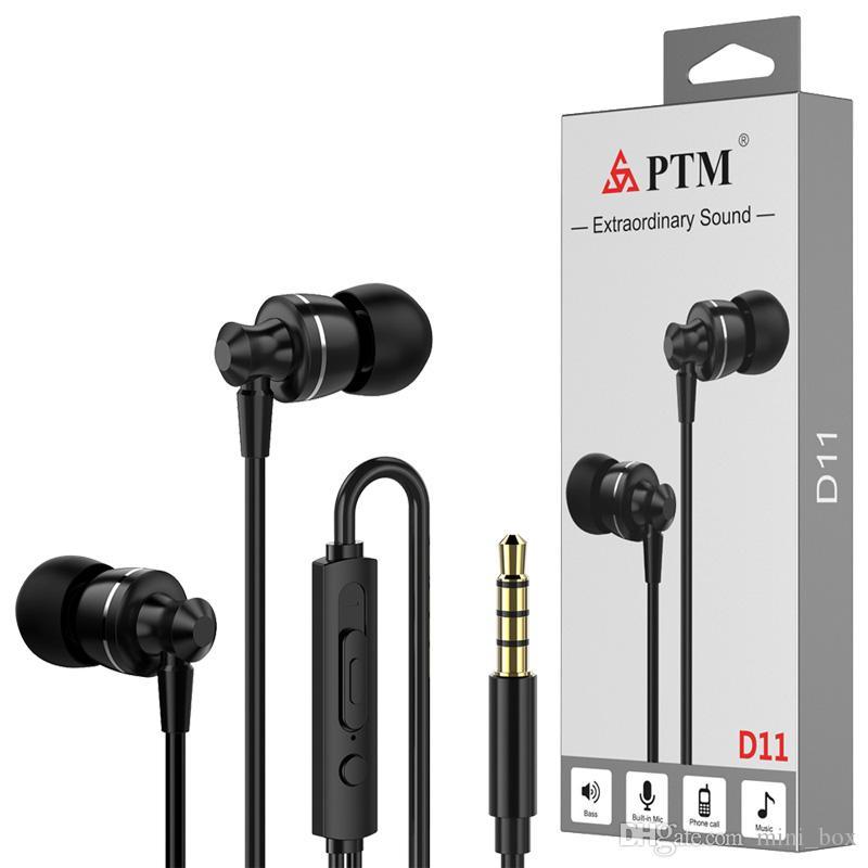 Metal Earphones Universal 3 5mm In-Ear Headphones With Mic For Samsung S8  S9 S10 iPhone Xiaomi Huawei