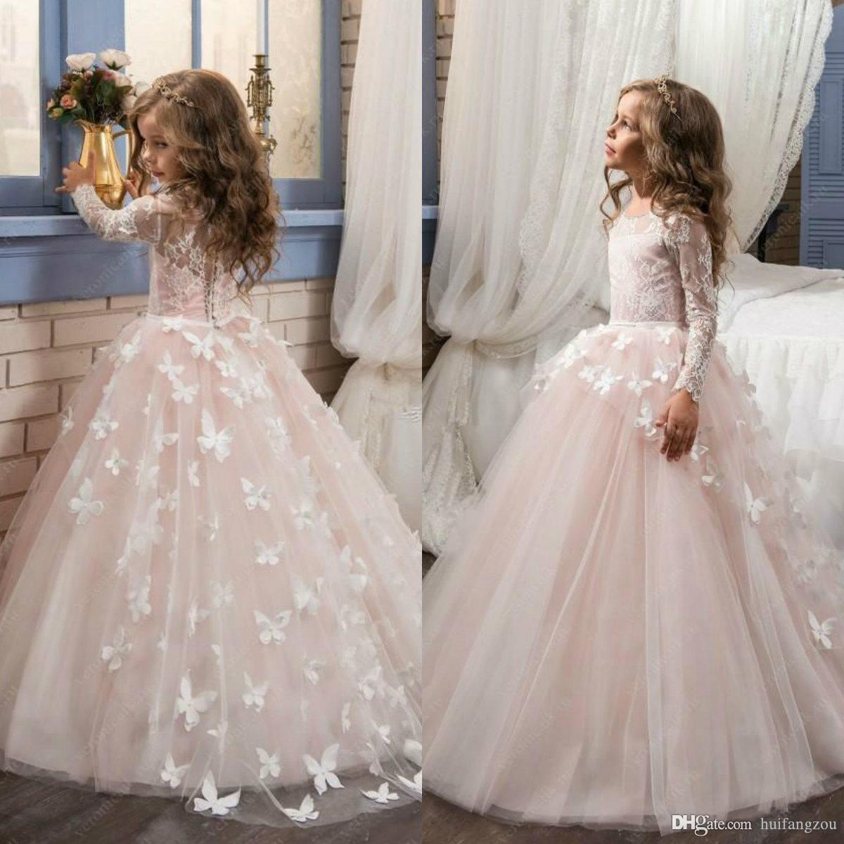 41ac9750779a4 2019 Lovely Pink Flower Girl Dresses For Weddings 3D Butterfly Appliques Ball  Gown Girls Pageant Dresses Kids Lace Long Sleeve Formal Dress Navy Blue  Flower ...