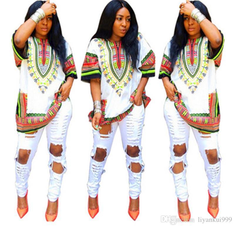 the latest f69de 43b21 Mode Sommer Kleider Afrikanische Dashiki Hemd Kaftan Boho Hippie Gypsy  Festival Top Frauen Kleidung 7 farbe S-XL