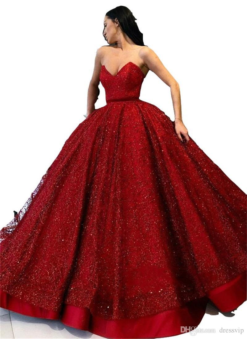 1a05b8b09a0 Red Ball Gown Prom Dresses Sweetheart Glitter Floor Length Sleeveless A  Line Luxury Evening Dress Custom Made Party Gowns Formal Occasion
