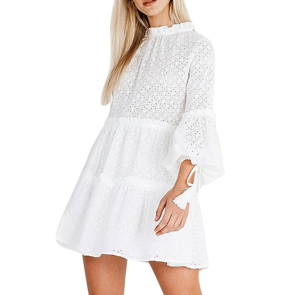 Summer Sexy Party Dress Women White Lantern Sleeve Mini Dress Women Clothes 2019 Gothic Ruffled Loose Beach