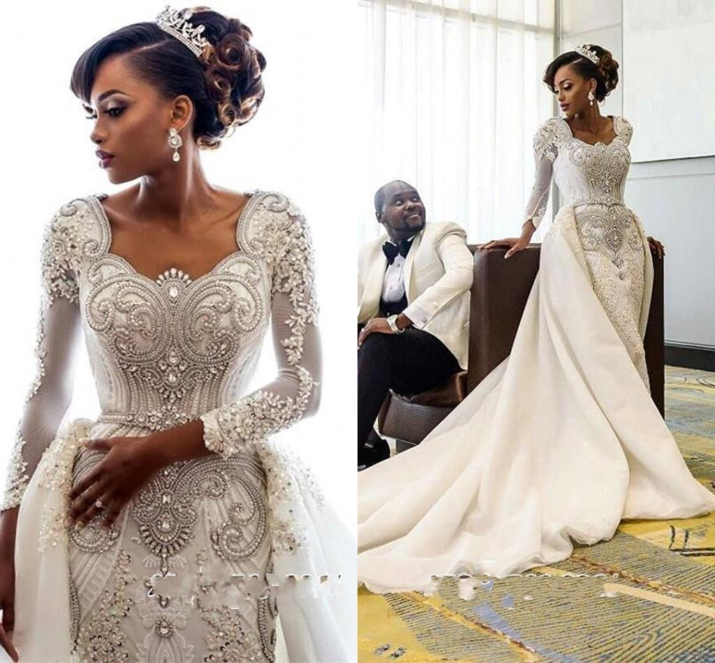 Gorgeous Long Sleeve Crystal Beads Bridal Gowns 2019 Mermaid Wedding Dresses With Detachable Overskirt Lace Bridal Gowns Custom made BC0543