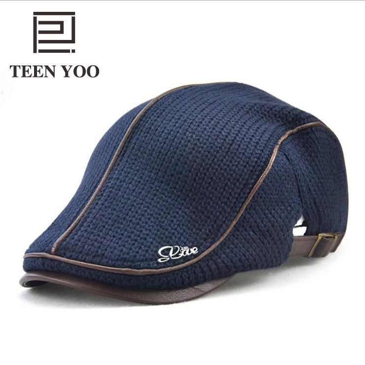 7b0313ae0a2 2019 New Knitted Mens Berets Women Cotton Beret Hats Middle Aged Adult Duck  Tongue Cap England Solid Outdoor Casual Packed Caps From Wonderliu