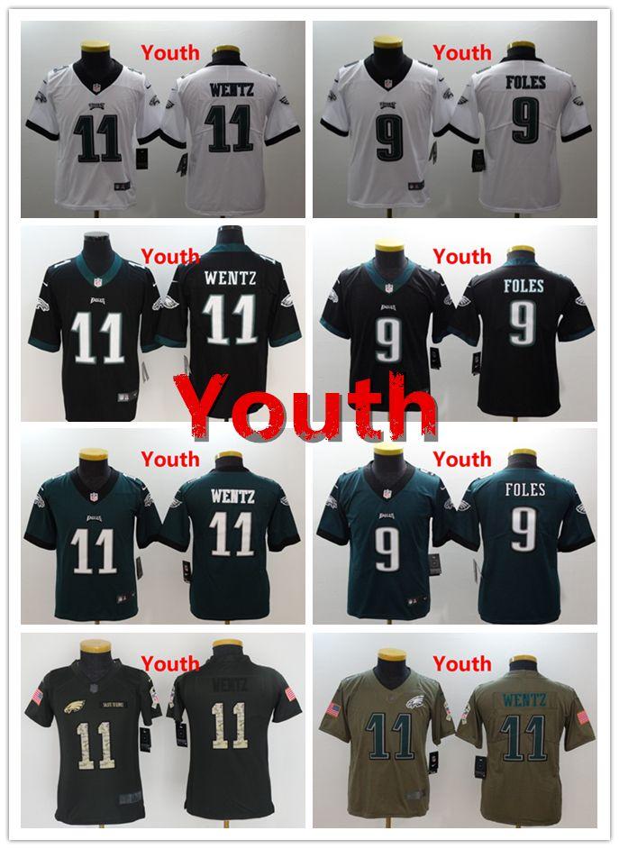 293923892 Philadelphia 9 Nick Foles Youth Jersey Eagles Football Jersey 100% Stitched  Embroidery 11 Carson Wentz Kids Jersey Color Rush Boys Jerseys Shirt Online  ...