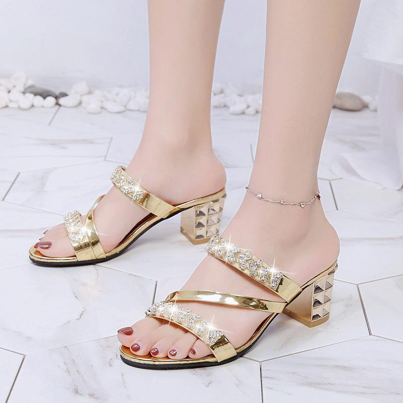 2019 New Thick Heel With Female Slippers Open Toe High Heel Rhinestones  Thin Ladies Sandals And Slippers Women Cute Slippers For Women Cheap Shoes  For Women ... db9a3ac31364