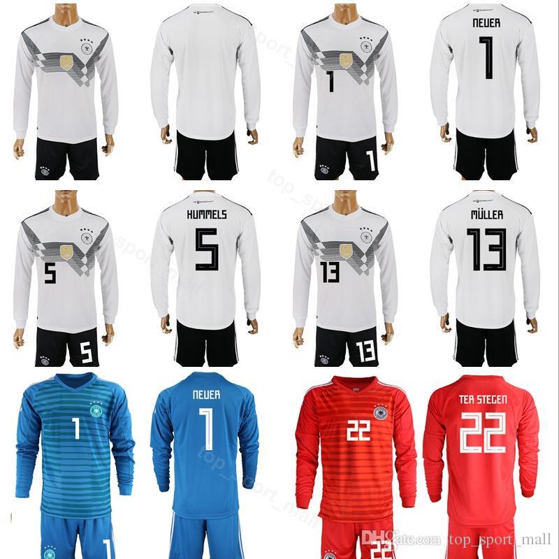 Copa Del Mundo 2018 Alemania Juego De Jersey De Manga Larga Fútbol 1 Manuel  Neuer 5 Tapetes Hummels 13 Gerd Muller Camiseta De Fútbol Kits Pantalón  Corto ... 1b1bdbb8dfc2f