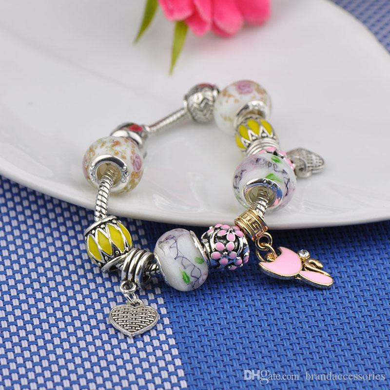 Women Silver Plated Bracelets Fit Pandora Brand Logo White Murano Glass Crystal Beads Bangles Heart Cat Shaped Pendant Jewelry Gift P61