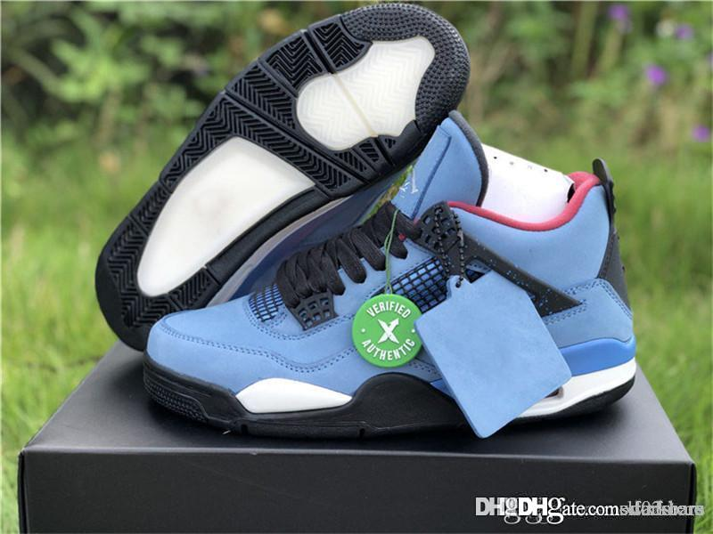 Best Quality TravisScott X AirJordan4 Cactus Jack Houston Oilers AJ4 IV 308497  406 Basketball Shoes Sneakers With Original Box Loafers For Men Red Shoes  ... ff2d5668c