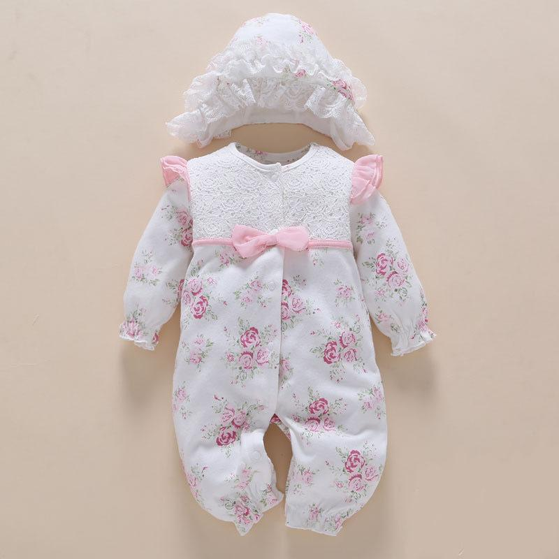 ca8b838ade77c Newborn Clothes&rompers 0 3 6 Months Long Sleeve White Girl Cotton Print  Flower Baby Clothes Sets Ropa Bebe J190508