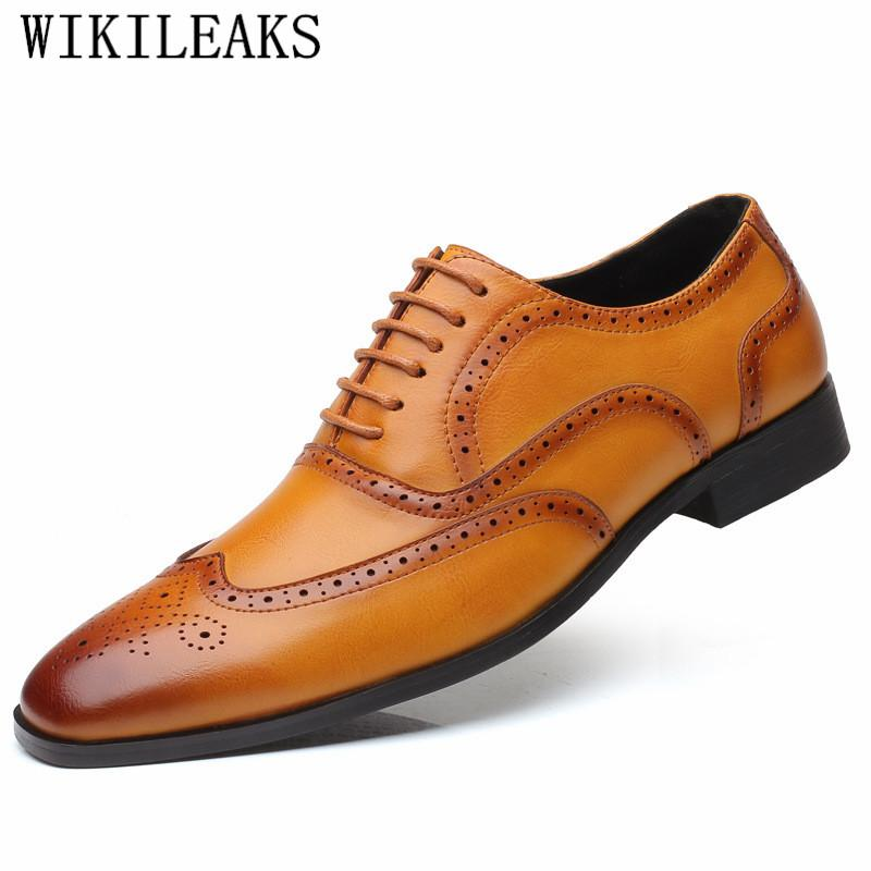 de7ea4cd4ff 2019 Italian Luxury Brand Brogues Mens Dress Shoes Oxford Shoes For Men  Coiffeur Black Formal Men Schuhe Herren Clasik Blue Shoes Shoe Boots From  Hotbuybuy