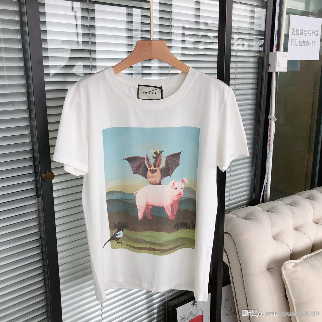 eb7af838 2019 New Bat Flying Sky Piglet Painting Print Logo Short Sleeved T Shirt  Men And Women Shirts Design Online T Shirts From Hxxmjy10086, $21.32|  DHgate.Com