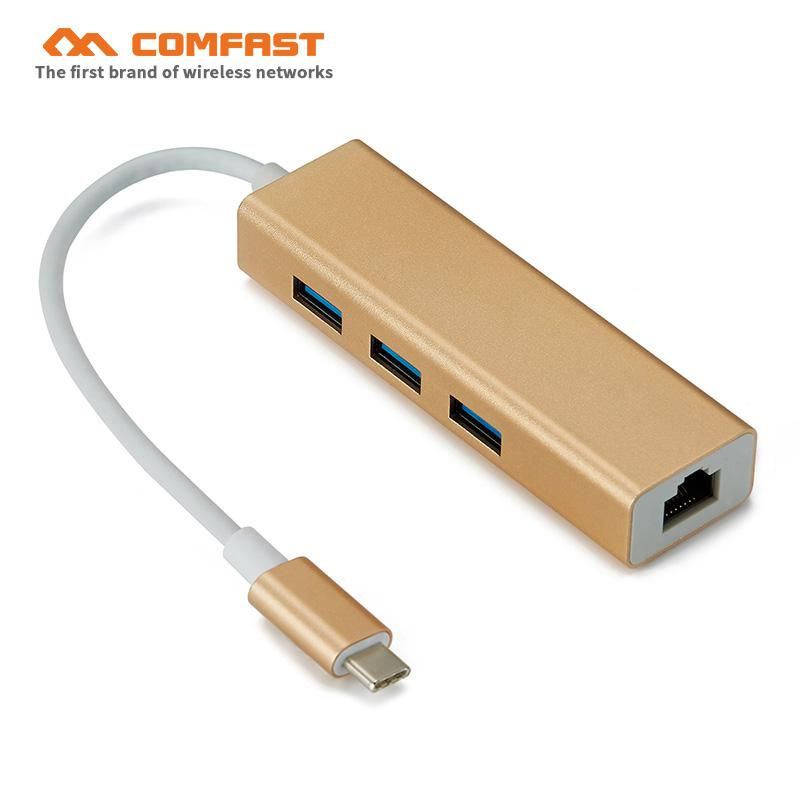 usb3.0 gigabit Ethernet network adapter with 3 Port USB HUB 10/100/1000Mbps RJ45 port suit for new MAC book PC RTL8153 HUB